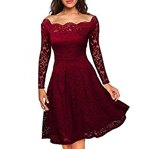 Femme Robes Vintage, Tonwalk Femme Robes Dentelle Manche Longue Rouge