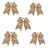 CN 5pcs 7.5Inch Emoji Large Cheer Bows Cheerleading Girl Boutique Hair Bows With Ponytail Holder