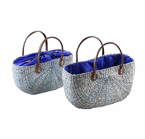 Neustanlo® Einkaufstasche/Einkaufskorb 1 Stk, aus Seegras oval blau (klein)