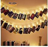 DENFIVE® 40 LED Fotoclips mit Lichterkette – Inkl EBOOK – Fotolichterkette zum stilvollen dekorieren – LED Fotokette – LED Lichterkette – Deko Klammern – Fotoschnur mit Klammern – Clip Bilder