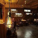 KINGSO E27 lámpara colgante lustre jaula de hierro pantalla con vaso – Luz de techo estilo industrial Vintage Retro