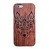 Forepin® Natur Holz Wood Hülle Handyhülle Echtem Schutz Schale Hart Cover Case Etui für iPhone 6/6S 4.7 Zoll - Wolf