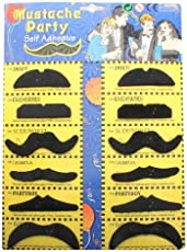 SBD Fake Self Adhesive Black Mustache Black (Set of 12) Party Props