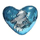 Meerjungfrau Throw Pillow mit Insert, Play Tailor Reversible Sequins Kissen Herzform Dekorative Kissen (35 x 40cm, Silber + Blau)