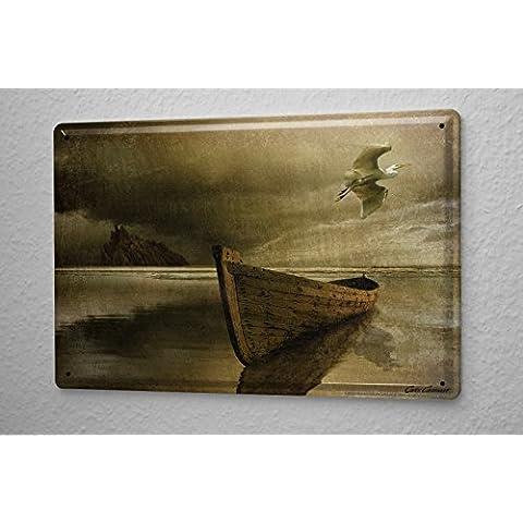 Cartello Targa In Metallo Cucina Nave Arredamento Pittura barca gabbiano 20X30 cm - Nave Tin