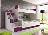 Furnistad - Etagenbett HEAVEN - Kinder Stockbett (Option links, Weiß + Violett)