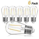 OxyLED OxyLED S14 Ersatzlampen Glühbirne LED Retro,IP65 Wasserdicht,6X2W LED Birnen E27 Warmweiß 2500K Glühbirnen