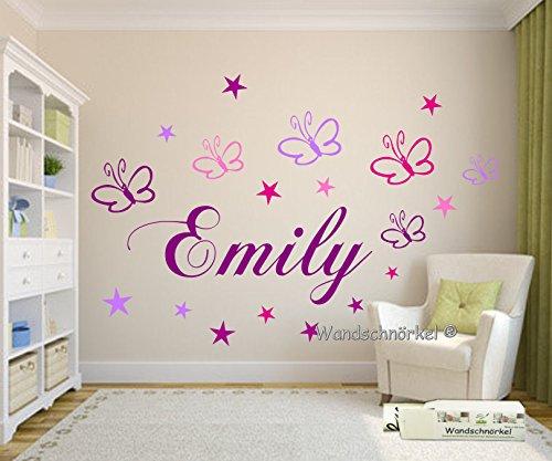 ndtattoo Kinderzimmer Wunsch-Namen personalisiert in Lila mit 19 Schmetterlingen und Sternen in Rosa,Flieder,Pink und Lila (Personalisierte Schmetterling)