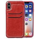 RZL Cases für iPhone X, Einfache Leder Textur TPU Magnetic Ledertasche mit Halter & Kartensteckplätze & Brieftasche (Farbe : Rot)