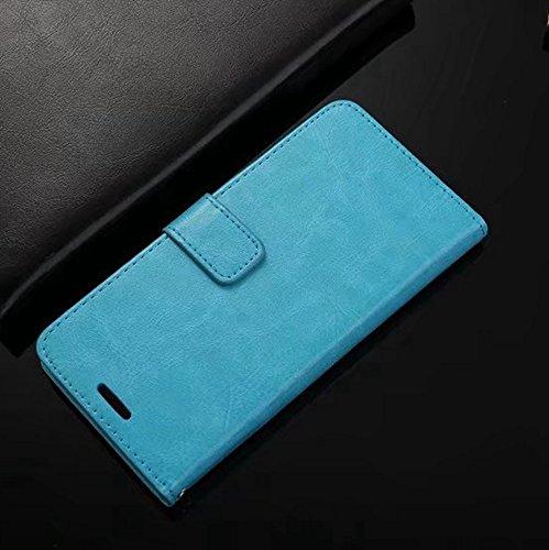 Retro Folio Stand Case Retro Classic Sac en cuir PU avec porte-cartes pour Meizu Pro 6 Plus ( Color : Blue ) Blue