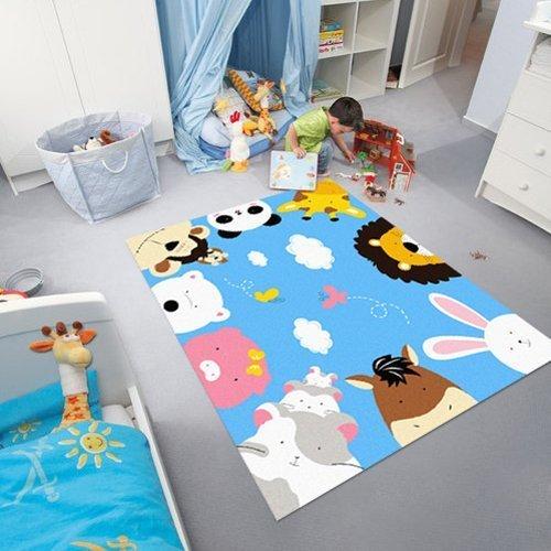 GRENSS Blau Kinder Teppich Cartoon Animal Print Teppiche Zoo Welt Kinder Teppiche (Blauer Himmel) (Animal-print Kinder Teppiche)