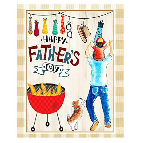 ASKYE Happy Fathers Day Best Dad Double Sided Garden Yard Flag, Father BBQ Lovely Dog Hat Sunglasses Men Tie Decorative Garden Flag Banner for Outdoor Home Decor Party(Size: 12.5inch W X 18 inch H)