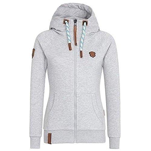 Fleece Zip Up Frauen Kapuzenjacke Langarm Herbst Winter Zipper Jacke Overcoat, Grau, L Rei Fleece Hose
