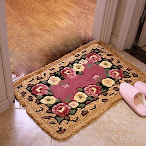 RUG ZI LING Shop- Hause Wirtschaft Teppich Blume Schlafzimmer Matten Wohnzimmer Matten Land Stil Rechteck Teppich Badezimmer Matten Tür Teppich (Farbe : B, größe : 45x65cm) -