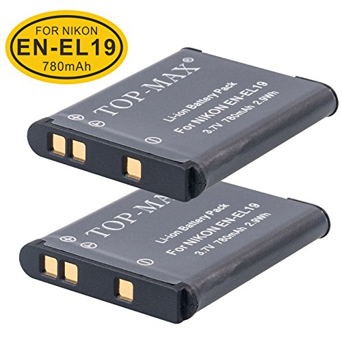 top-max-packs-of-2-en-el19-rechargeable-li-ion-battery-for-nikon-coolpix-s32-s100-s2500-s2550-s2600-