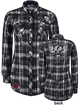 Rock Rebel by EMP Checked Application Girl Camisa Mujer negro/gris