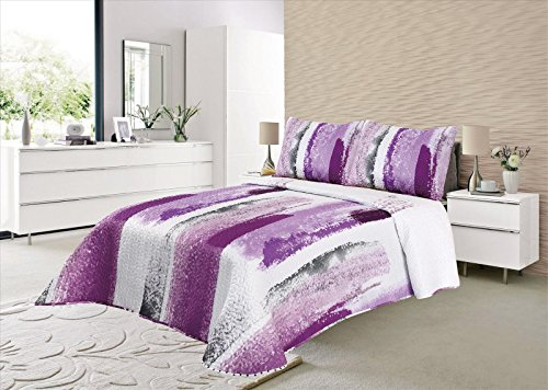 ForenTex - Colcha Boutí, (S-2686), Reversible, Color Lila, Cama 90 cm, 180 x...