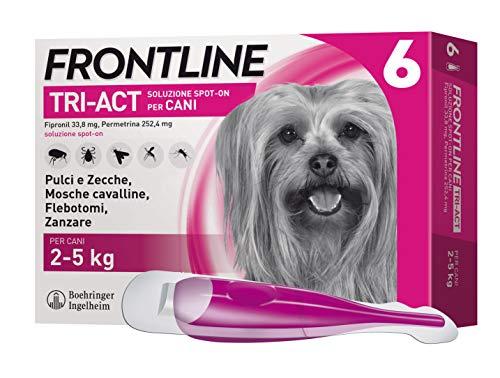Frontline TriAct Spot On Cani | Protezione da pulci, zecche, mosche cavalline pappataci | 6 Pipette | Cane XS (2 - 5 Kg)