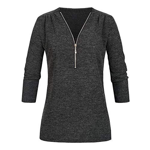 Briskorry Strickjacken Pullover Damen Herbst Beiläufig Strickpullover Sweatshirt V-Ausschnitt Reißverschluss Lose Bluse Oberteile Jumper