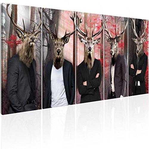 murando - Bilder Hirsch 200x80 cm - Leinwandbilder - Fertig Aufgespannt - Vlies Leinwand - 5 Teilig - Wandbilder XXL - Kunstdrucke - Wandbild - Abstrakt Tiere g-C-0063-b-m Kinderzimmer Tier Bilder