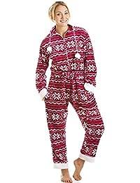 Combinaison pyjama à capuche - toucher peau de pêche - motif nordique - rouge/blanc