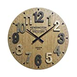 rebecca mobili Reloj para Pared Reloj Decoración Madera Redondo Estilo Vintage Ø 60 cm (Cod. RE6137)