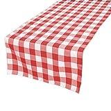 gfcc 100% Polyester, Weihnachten Urlaub Party Decor Maschinenwaschbar Tischläufer, kariert, rot & Weiß, Polyester, rot, 12 x 108-inch table runner