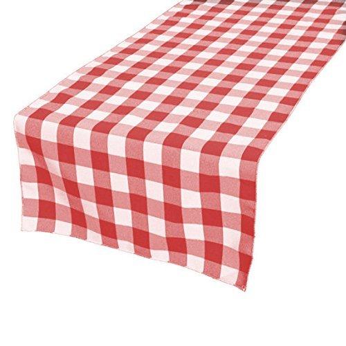 gfcc 100% Polyester, Weihnachten Urlaub Party Decor Maschinenwaschbar Tischläufer, kariert, rot & Weiß, Polyester, rot, 12 x 96-inch table runner
