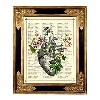 Anatomisches Herz Blumen II Steampunk Kunstdruck auf antiker Buchseite Liebe Gothic Geschenk Hochzeit Valentinstag Bild…