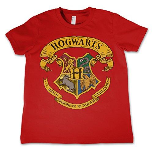 HARRY POTTER Offizielles Lizenzprodukt Hogwarts Crest Unisex Kinder T-Shirt - Rot 11/12 Jahre