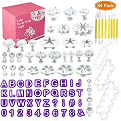 Idea Regalo - WisFox Torta di Sugarcraft fondente di 84pcs che decorano il corredo di attrezzo di modellazione di denti di taglio di DIY tagliatori a lettere & Tagliapasta Rosa Stampi Cookie taglierina