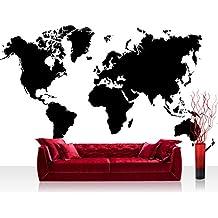 Papel Pintado Fotográfico Premium Plus pared papel pintado fotográfico–cuadro de papel pintado–Mundo Tierra Continentes Blanco y Negro–No. 3034, negro/blanco, Fototapete 368x254cm   PREMIUM Blue Back