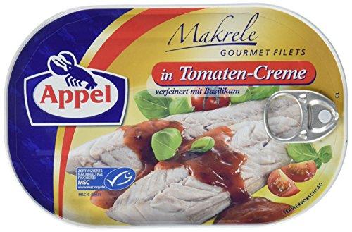 Appel Makrelenfilets in Tomaten-Creme, 10er Pack Konserven, Fisch in Tomatencreme