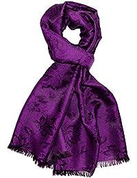 Lorenzo Cana Italian Scarf Pashmina Silk Damask 75'' x 22'' Shawl Paisley Purple 8909911
