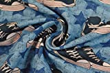 HILCO Jersey 'Street Style' Chucks & Sterne blau 0,5m