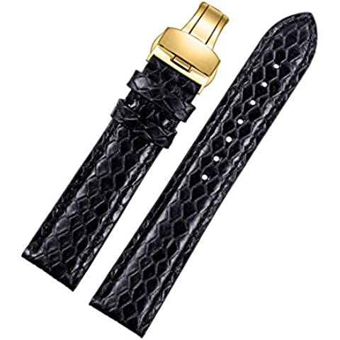 20mm negro exóticos correas de reloj de cuero de alta calidad genuina piel de becerro italiano con el fresco de grano de piel de serpiente cierre desplegable de oro