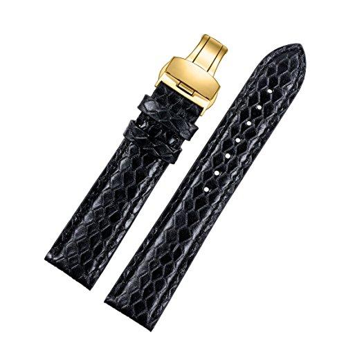 20 mm cinturini in pelle esotica premio nera Vera pelle di vitello italiana con fibbia di distribuzione oro fresco grano dello snakeskin