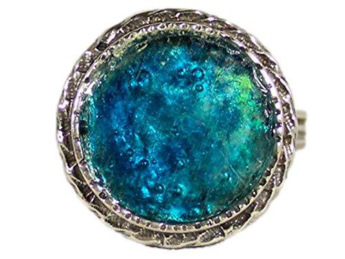 Glasschmuck, handgefertigter Damenring mit Zierkante - one-size/einstellbar - blaues römisches Glas by Niibuhr Jewelry