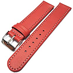 Red Leather Watch Strap Band White Stitched Edging & Nubuck Lining 12mm