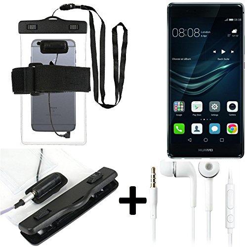 Custodia Cellulare Impermeabile Universale Pollici Waterproof Cover Case per Huawei P9 Plus. + cuffie incluso, trasparente | bracciale Jogging borsa spiaggia cassa telefono esterno guscio subacqueo per la spiaggia - K-S-Trade (TM)Custodia impermeabile con l