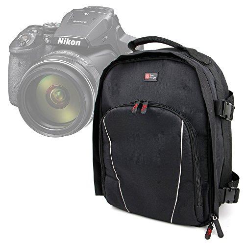 DURAGADGET Zaino Imbottito per Nikon Coolpix L340, A10, AW130, P900, B700, S7000 | Sony DSC-H300, H400, DSC-W810 | Panasonic Lumix DMC-FZ72EF-K + Custodia Impermeabile | Interno Multisezione