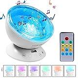 Lobkin télécommande Ocean Wave Projector 12 LED & 7 couleurs veilleuse avec mini lecteur de musique intégré pour salon et chambre à coucher (blanc)