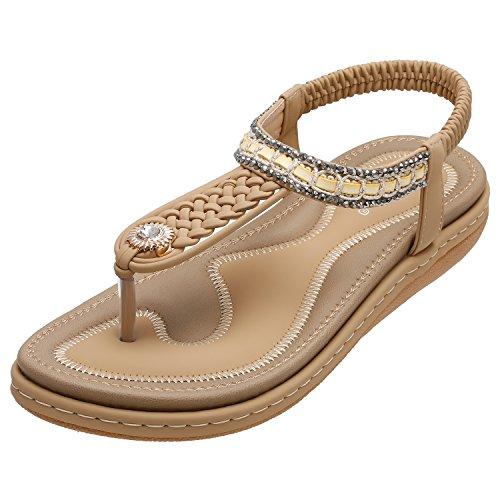 SANMIO Damen Sandalen, Frauen Flach Zehentrenner Bohemian Strass Sandaletten Sommer PU Leder Sandals- Gr. 39 EU (Etikettgröße: 40), Beige -