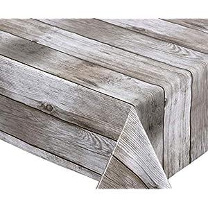 BEAUTEX Holz beige Wachstuch Tischdecke glatt abwischbar Garten Tischdecke RUND OVAL ECKIG, Größe wählbar (Oval 140x200 cm)