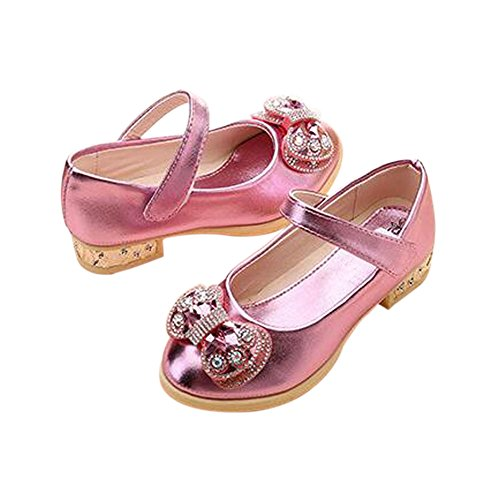 Meijunter Enfants Kids Filles Printemps Bowknot Rhinestones Shallow Mouth Princesse Plat Chaussures pink