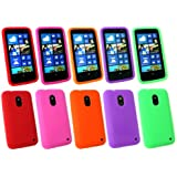Emartbuy ® Nokia Lumia 620 Bundle Pack Von 5 Silicon Skin Cover / Case Rot, Grün, Pink, Lila Und Orange