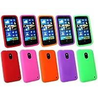 Emartbuy ® Nokia Lumia 620 Bundle Pack Von 5 Silicon Skin Cover / Case Rot, Grün, Pink, Lila Und Orange