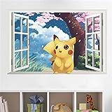 Cartoon Pikachu Wall Stickers For Kids Rooms 3D Effect Window Children's Gift Wall Decals Poster Nursery Decor Mural