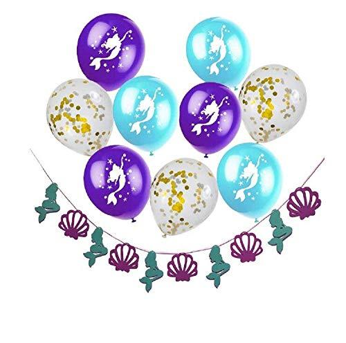 Meerjungfrau Geburtstag Dekorationen Meerjungfrau Shell Banner mit Latex Konfetti Balloons für unter der Sea Party Supplies