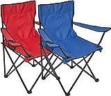 2x Silla plegable Silla de camping con soporte para bebidas en reposabrazos silla plegable, azul / rojo